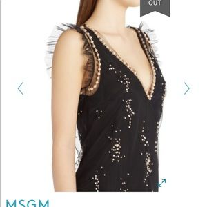 Msgm pearl tulle open back dress it40